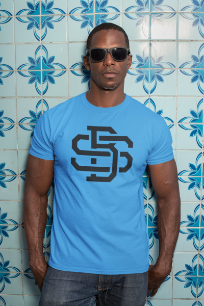 t-shirt man with sunglasses against a blue tiling